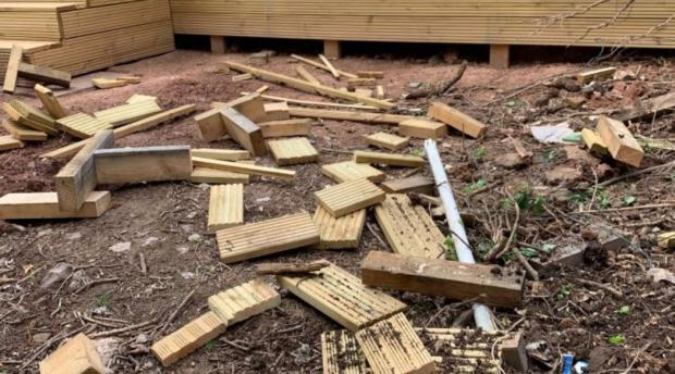 South Wales Argus: A pile of offcuts, mud and bricks were left uncleared by workers in Lisa Potter's garden. Picture: Lisa Potter.