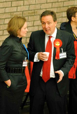 Labour's Nick Smith and Liz Stevenson of the conservatives chat at the Blaenau Gwent count.