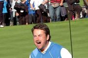 WHAT A MOMENT: Graeme McDowell after winning his match against Hunter Mahan and securing the Ryder Cup for Europe PICTURE: Mark Lewis