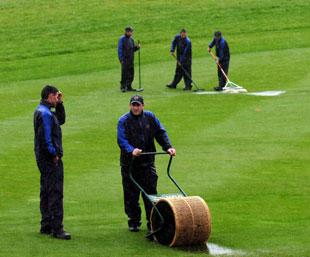 South Wales Argus: UNSUNG HEROES: The Celtic Manor ground staff clear the water from the course