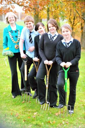 DIGGING IN: The mayor of Chepstow Marian Lewis with pupils Tony Jenkins, Annie Irwin, Gemma Lovett and Chloe Watkins