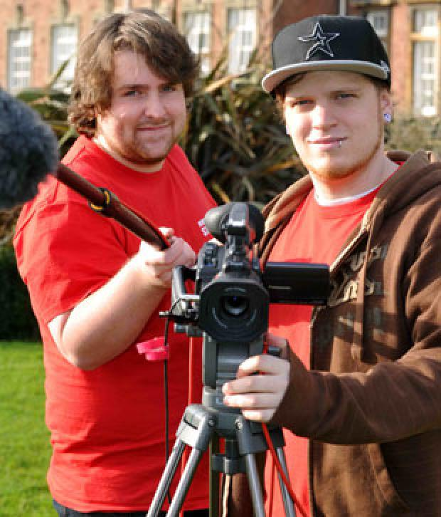 Film students James Haskin and Martin Izzard, right
