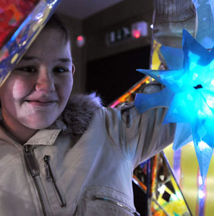 Volunteer Lauren Williams with her lantern