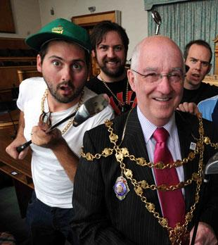 BID FOR OFFICE: GLC's Rhys Hutchings, left, with Newport mayor Cllr Bill Langsford