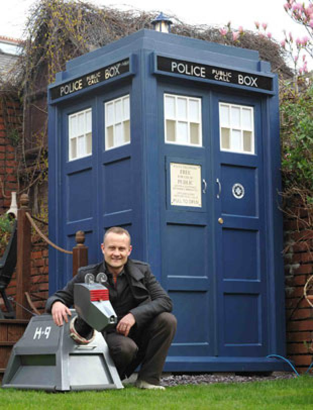 John Williams with his Tardis and 'K9'