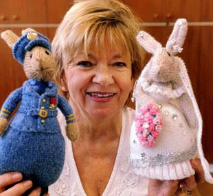 ROYAL RABBITS: Pat Fackrell with 'Kate' and 'William'