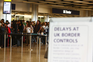 STRIKE: Queues at Border Control in Terminal Five of London's Heathrow Airport. PA