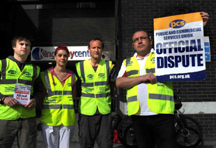 Department of Work and Pensions staff on the picket line outside the Kingsway shopping centre in Newport