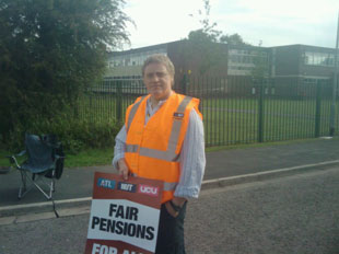 This is Phil Deacon, the single NUT picket outside lliswerry high school. 7 teachers on strike here