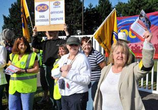 PROTEST: Pickets outside the ONS in Newport