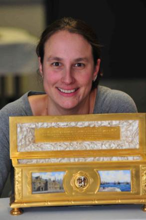 TREASURE: Newport museum officer Barbara Bartl with the gold casket