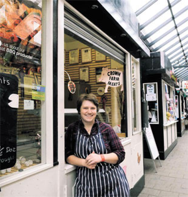 South Wales Argus: WE NEED 'SHOPPERS' SUPPORT': Rachael Nicholas of Crown Farm Meats kiosk