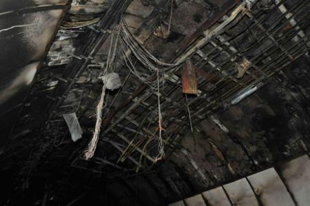 Aftermath of the blaze inside the tunnel. Pic: Malcolm Morgan