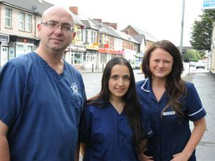 HEROES: Peter Heathcote, Sarah Cook, centre, and Sara Morris, from Budget Vets, who helped some of the victims of the shooting