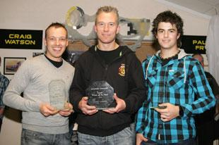 WORTHY WINNERS: Charlie Gjedde (left) and Leigh Lanham (centre) were named Wasps rider of the season and team man of the year respectively while Todd Kurtz (right) was the Hornets' rider of the season