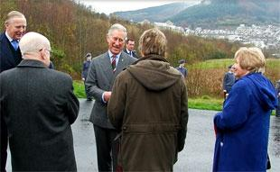 VALLEYS VISIT: Prince Charles with  former mine worker and local councillor Jim Watkins