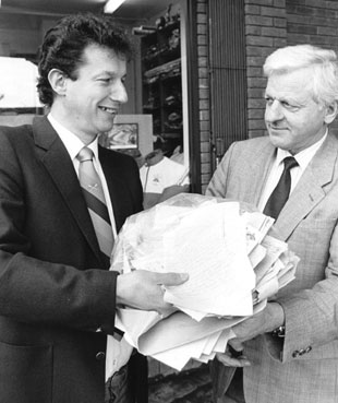 LOOKING BACK: Here I am back in the seventies presenting the biggest sporting petition the Argus has ever organised to Ray Williams (WRU secretary) calling for Pontypool great David Bishop to be given a chance in the Welsh national team