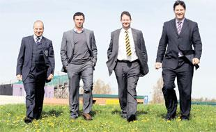 MOVING FORWARD: At the site of the FAW complex, when the announcement of the plan was made, from left, FAW chief executive Jonathan Ford, the late Gary Speed, Newport council leader Matthew Evans and Welsh Football Trust's chief executive Neil Ward