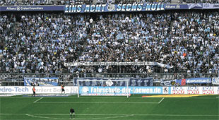 TSV 1860 fans show off their colours at Munich's Allianz Arena