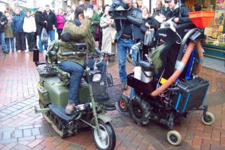 Top Gear were in Abergavenny filming yesterday (Wednesday 18th January). These pictures were sent in by readers dodging Jeremy Clarkson, Richard Hammond and James May as they raced around the town on mobility scooters.