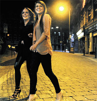 South Wales Argus: FRIENDS Lauren Thomas, 22, (left) and Gemma Gullis, 25, for Newport bouncers feature