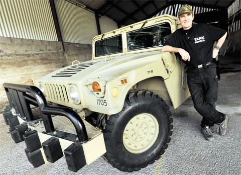 ON THE ROAD: Alastair Scott with his newly-acquired Humvee