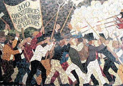 HISTORY: The Chartist mural which is to be re-created and displayed at Newport Central Library when the original is destroyed as part of the city centre redevelopment