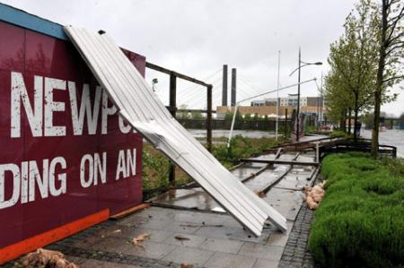 Wind damage to Newport city campus - pics by Becky Matthews