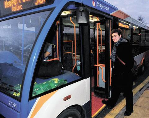 LINK: Reporter David Deans boards the shuttle bus at Rogerstone