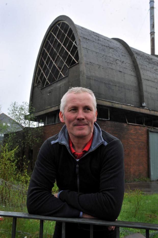 Wayne Hodgins outside the former Dunlop Semtex Boiler House in Brynmawr