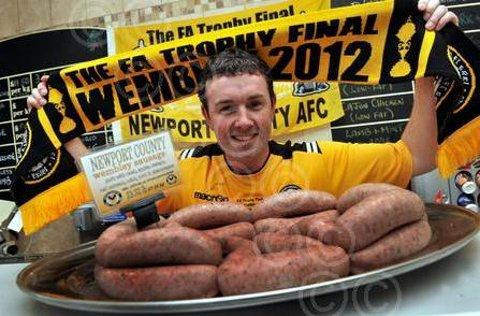 BIG MATCH BANGERS: Butcher Mike Edwards with his County sausages