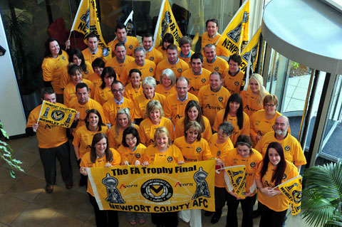 WORKS OUTING: Acorn staff get ready for Wembley
