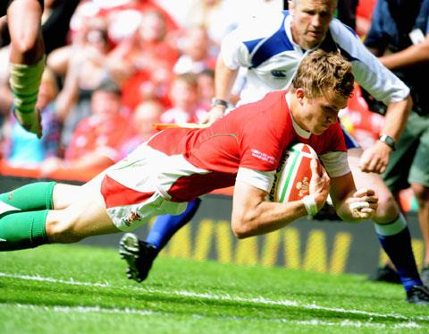 RECORD BREAKER: Tom Prydie becomes Wales' youngest try scorer with a touchdown against South Africa in 2010
