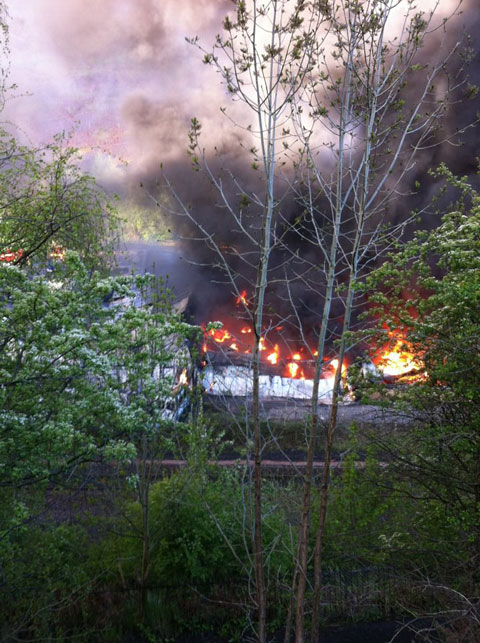READER Darren Jackson sent this picture in of the fire at Aberbeeg