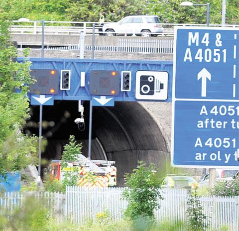 Roof tile on road causes Brynglas Tunnel delays