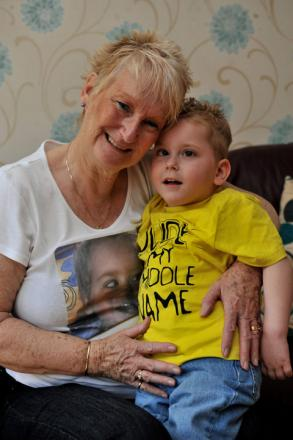 Three and a half year old Dylan Brooks with his Nanna Pat Van Den Heede