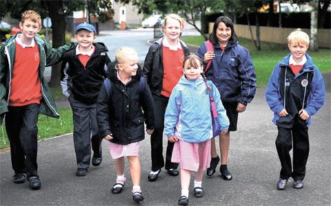 TEMPORARY ACCOMMODATION: Pupils returned to Thornwell Primary School after the fire but will now have to wait untl next year until the work is complete on the replacement building