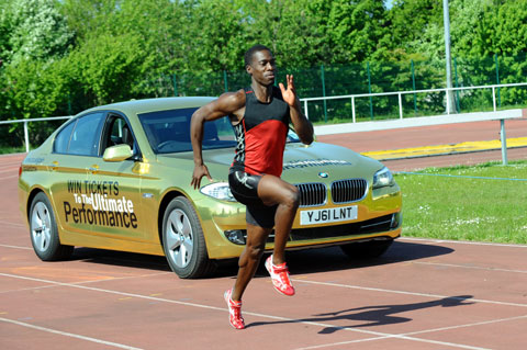 Christian Malcolm takes on a golden BMW