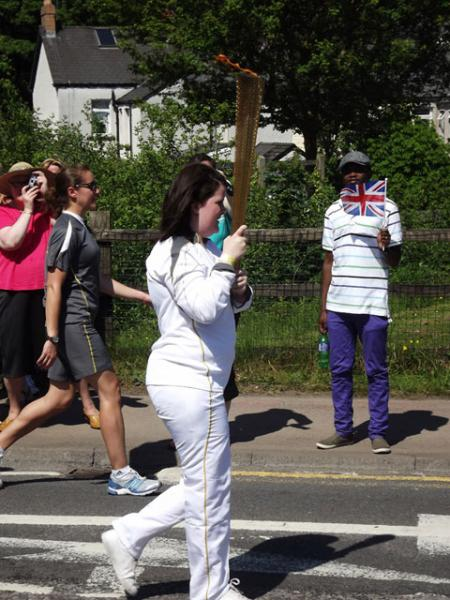 Olympic Torch on Osborne Road, Pontypool from Dave Walker.