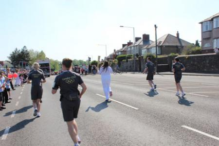 Olympic Torch coach on Cardiff Road from Chloe Payne.