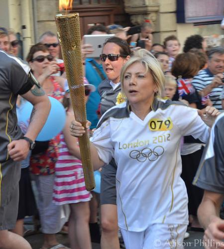 Torch Bearer at Stow Hill, Newport. From Alison Phillips, Cwmbran.