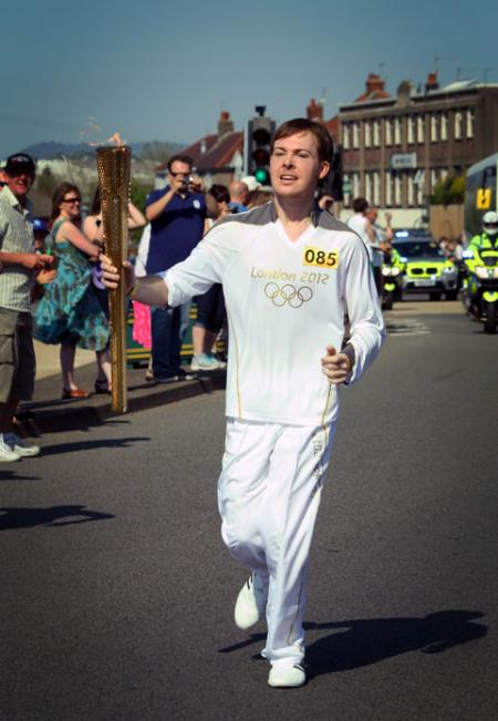 The olympic torch passing through Maesglas, Newport, from Matthew Thorn.