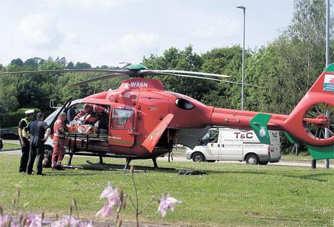 AIRLIFT: The air ambulance close to Newport's Coldra roundabout yesterday Picture: Argus reader JANE RUSSELL