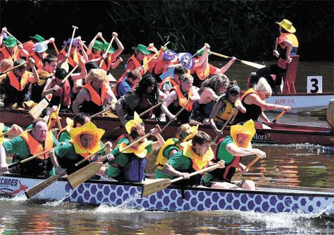 COLOURFUL: Competitors in last year's Dragon Boat race on the River Wye