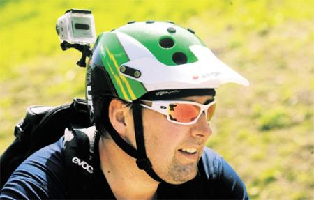 HE'S WATCHING YOU: Mountain cyclist David Diboney will a Go Pro camera attached to his helmet so he could record fellow cyclists coming down the mountain at Cwmcarn Forest Drive Picture: MIKE