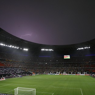 England will not train at the Donbass Arena on Monday as the pitch recovers from Friday's heavy downfall
