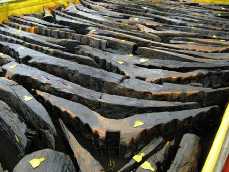 PRESERVATION: Timbers from the Newport ship are kept moist at the site in Maesglas before thay can be safely freeze-dried