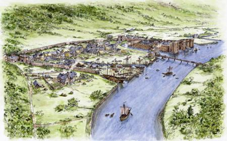 RECONSTRUCTION: Artist's impression of medieval Newport at the time the ship would have worked. By Anne Leave and Bob Trett - Friends of Newport Ship.