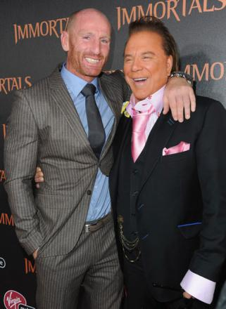 STAR NIGHT OUT: Gareth Thomas and Mickey Rourke