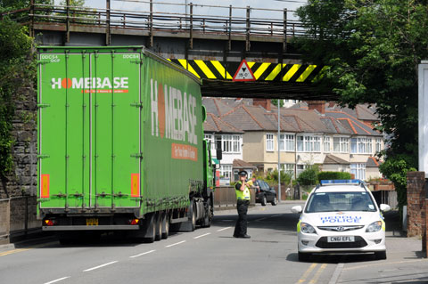 TRAFFIC STOPPER: The lorry under the railway bridge on Cardiff Road in Newport today